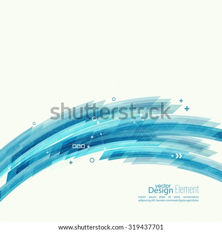 Abstract background with blue stripes, plus and curves. Concept  new technology and dynamic motion. Digital Data Visualization. Arc with symbols - stock vector
