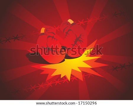 abstract background with boxing gloves - stock vector