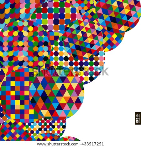 Abstract background with bright mosaic circles. - stock vector