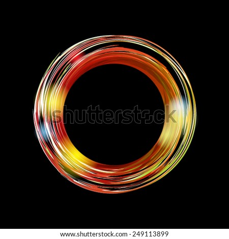 Abstract background with bright orange circle on black background. Vector banner with place for your text. - stock vector