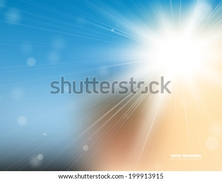 Abstract background with bright sunlight and blured bokeh. Eps 10 vector illustration - stock vector
