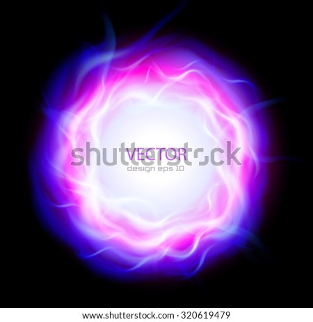 Abstract background with burning ring and blue flames, vector illustration. - stock vector