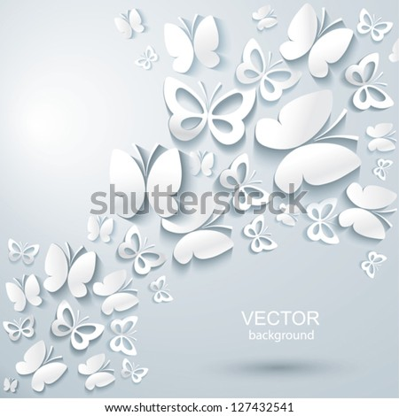 Abstract background with butterflies. - stock vector