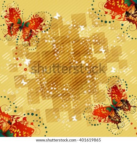 Abstract background with butterflies - stock vector