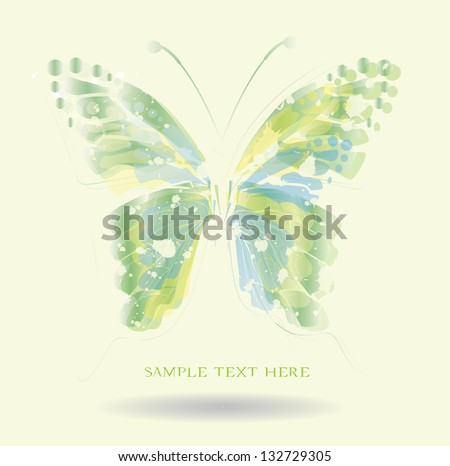 abstract background with butterfly,green color
