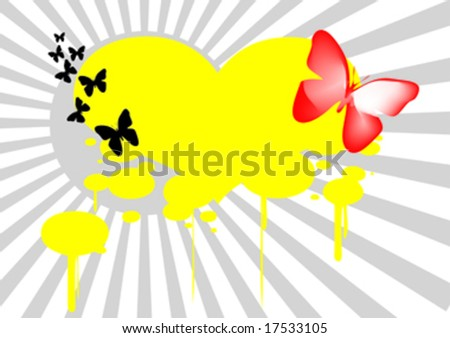 abstract background with butterfly in front of sun