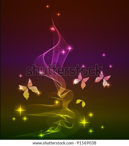 abstract background with butterfly over dark, vector, EPS10 - stock vector
