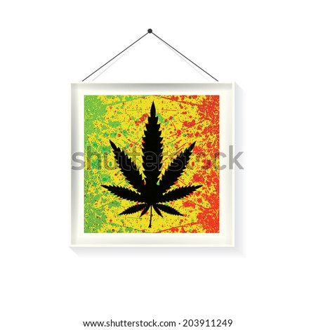 Abstract background with cannabis leaf and color spray paint in frame isolated on white. Vector illustration - stock vector