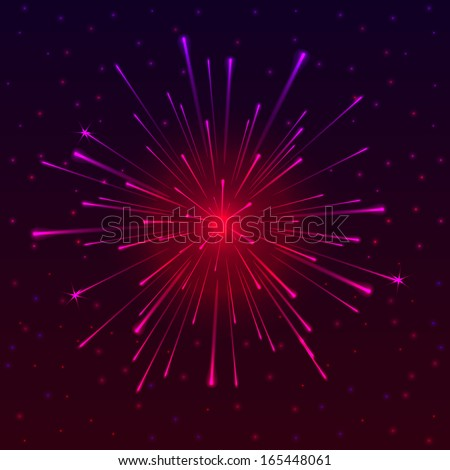 Abstract background with Celebratory Fireworks, vector illustration - stock vector