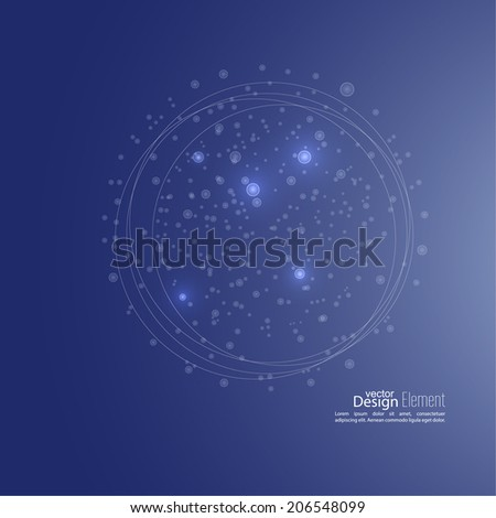 Abstract background with cell, amoeba, molecule structure. genetic and chemical compounds. creative vector. Space and constellations - stock vector