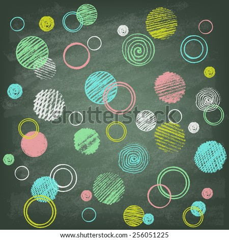 Abstract background with chalk on blackboard. Vector illustration. Hand drawn circles. - stock vector