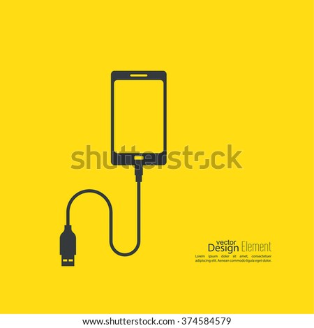 Abstract background with charge mobile phones. usb cable is connected to the phone. The concept of data transfer, charging - stock vector