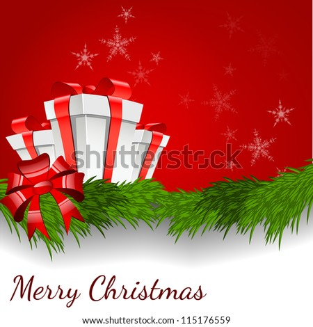 Abstract background with Christmas box - vector illustration - stock vector
