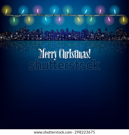 abstract background with Christmas lights and silhouette of city - stock vector
