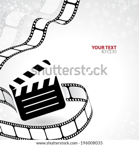 abstract background with clapperboard and film into - stock vector