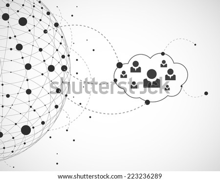 Abstract background with cloud.Technology theme - stock vector