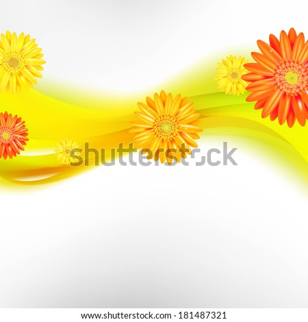 Abstract Background With Color Gerbers Flowers, With Gradient Mesh, Vector Illustration - stock vector