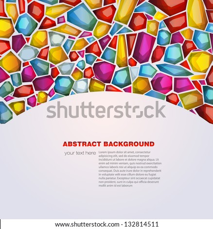 Abstract background with colored crystals. Vector illustration - stock vector