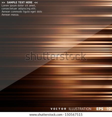 Abstract background with colored lines on paper layers - stock vector