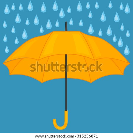 Abstract background with colored umbrella and rain drops.