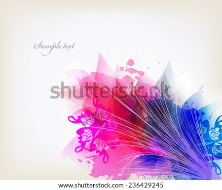 abstract background with colorful flower and blots. - stock vector