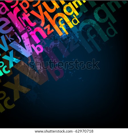 Abstract background with colorful letters - stock vector