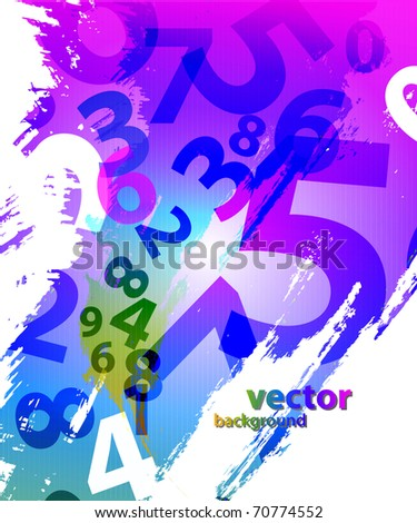 Abstract background with colorful numbers - stock vector
