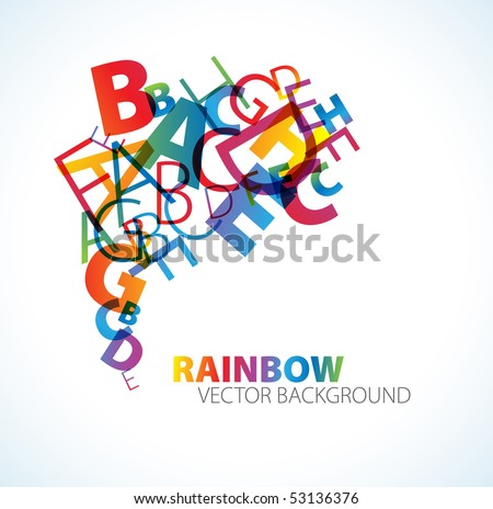 Abstract background with colorful rainbow letters - stock vector