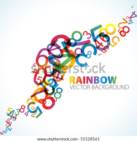 Abstract background with colorful rainbow numbers
