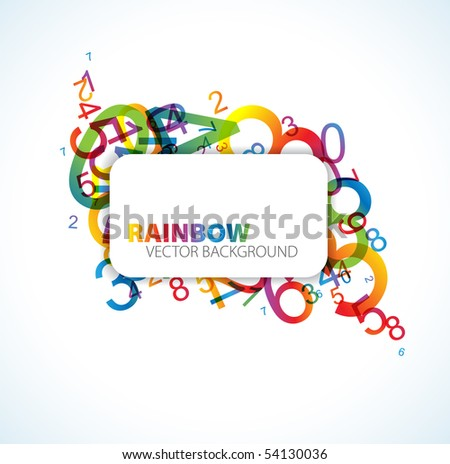 Abstract background with colorful rainbow numbers and place for your text - stock vector