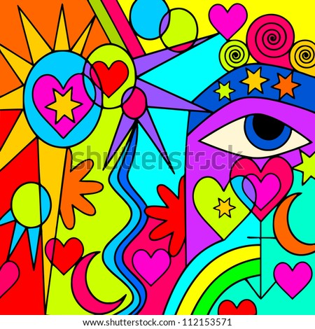 abstract background with colorful symbols - stock vector