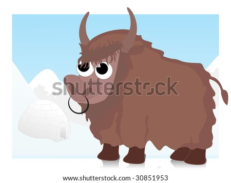abstract background with comic bull illustration