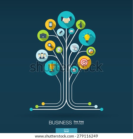 Abstract background with connected circles, integrated flat icons. Growth tree concept for business, communication, marketing research, strategy, mission, analytics. Vector interactive illustration. - stock vector