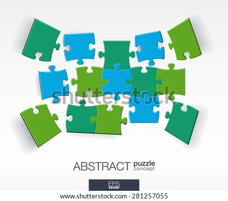 Abstract background with connected color puzzles, integrated elements. 3d infographic concept with mosaic pieces in perspective. Vector interactive illustration.