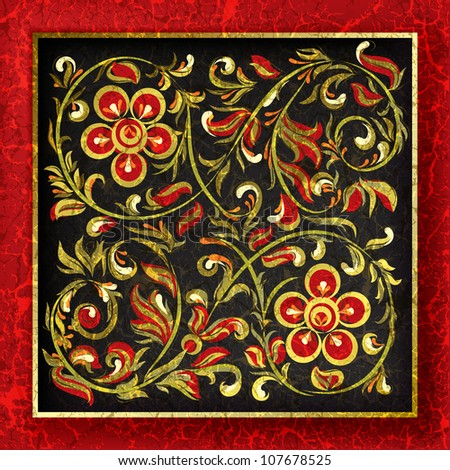 abstract background with cracked red floral ornament on black - stock vector