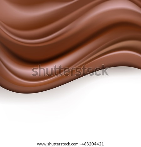abstract background with creamy chocolate waves on white. vector