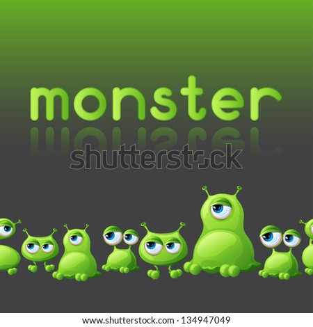 Abstract background with cute monsters. - stock vector