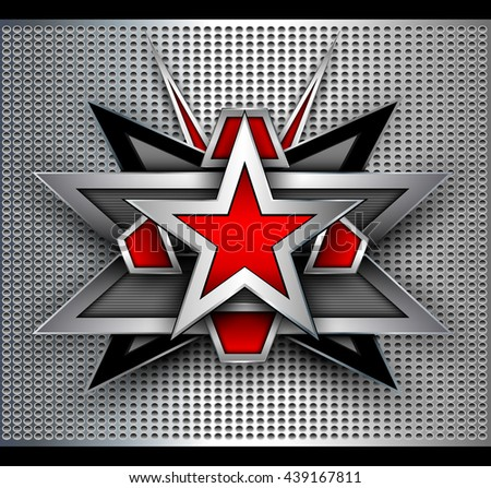 Abstract background with 3D star shape over dotted pattern. - stock vector