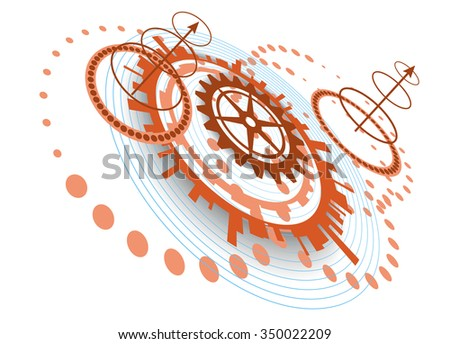 Abstract background with different circular technological elements - stock vector