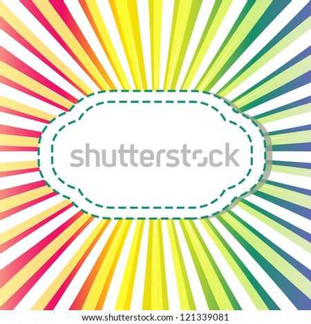 Abstract background with divergent rays and label