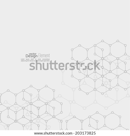 Abstract background with DNA molecule structure. genetic and chemical compounds - stock vector