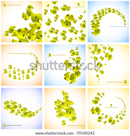 Abstract background with dollar sign. Vector set. - stock vector