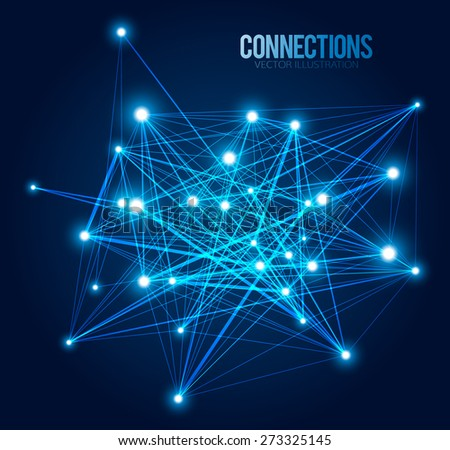 Abstract background with dots and lines. Connection Concept. Digital data visualization. Social network graphic concept. Geometric technology vector background. - stock vector