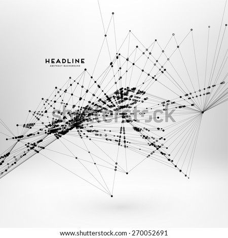 Abstract Background with Dots Array and Lines. Connection Structure. Geometric Modern Technology Concept. Digital Data Visualization. Social Network Graphic Concept. - stock vector