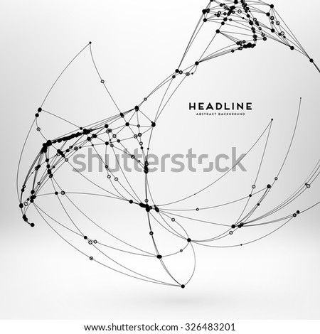 Abstract Background with Dots Array and Lines. Connection Structure. Geometric Modern Technology Concept. Digital Data Visualization. Social Network Graphic Concept - stock vector