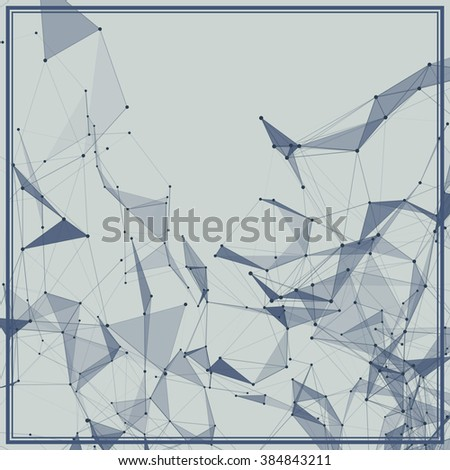 Abstract background with dotted grid and triangular cells - stock vector