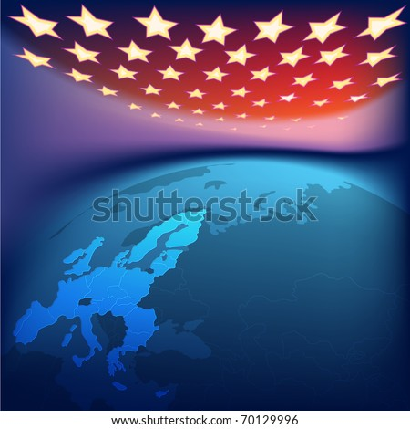 abstract background with europe map and stars - stock vector