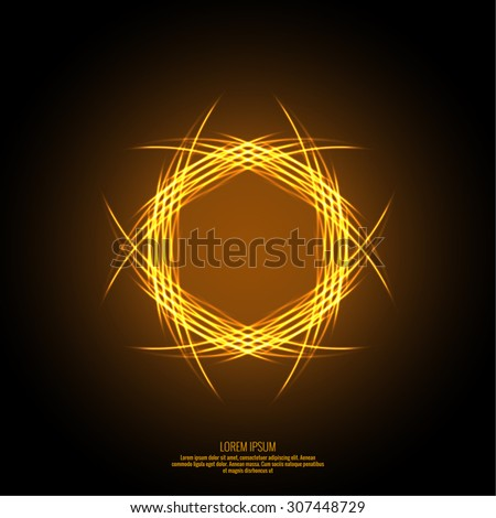 Abstract background with fiery fractal prominence. Intertwined flames in geometric shape. Fire circles. Vector - stock vector