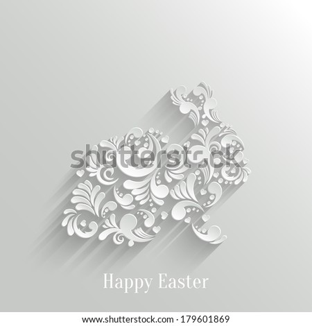 Abstract Background with Floral Easter Rabbit Bunny, Trendy Design Template