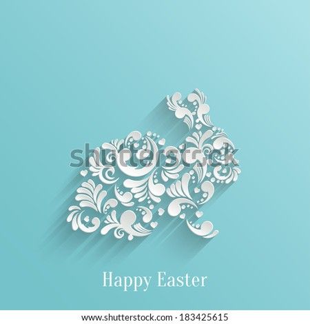 Abstract Background with Floral Easter Rabbit Bunny, Trendy Design Template - stock vector